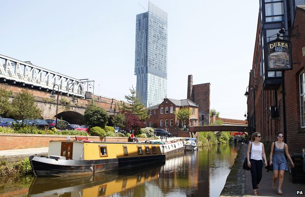 Manchester's Beetham Tower overlooks the city