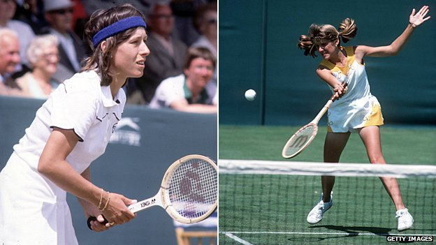 Martina Navratilova and Tracey Austin at Eastbourne in the late 1970s/early 1980s