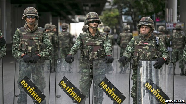 Thai army seals off part of Bangkok. 30 May 2014