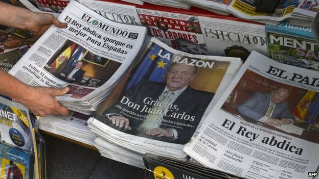 Spanish newspapers react to the abdication