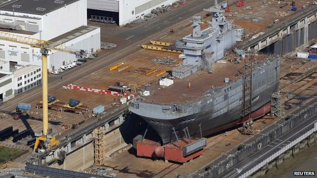 Mistral-class helicopter carrier Sevastopol at a shipyard in St Nazaire (May 2014)
