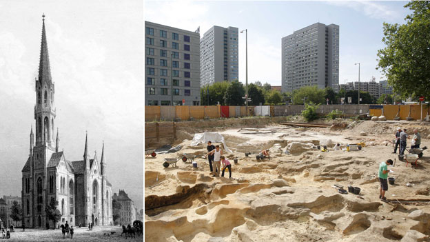 St Peter's Church in 1850 and graves being discovered in 2008