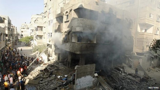 The site of an Israeli strike in Gaza City, 10 July