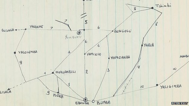 A hand drawn map from 1976 plotting out each village visited