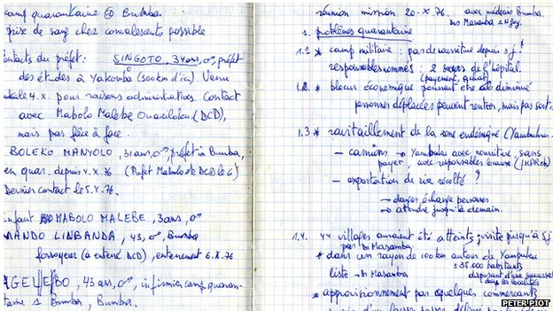 Piot's notes from the investigation in 1976