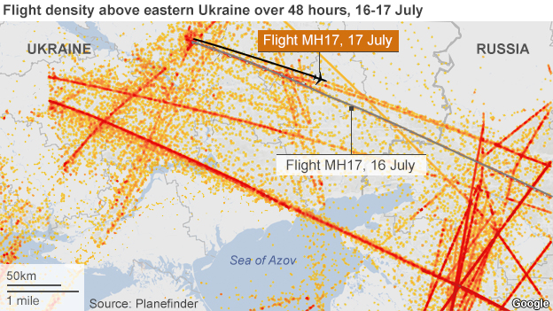 Map showing flight density over eastern Ukraine on 16-17 July