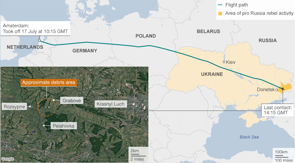 Map showing the flight path and crash site of flight MH17