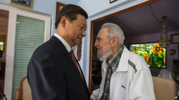 Cuba's Fidel Castro, right, speaks with China's President Xi Jinping in Havana, Cuba on 22 July 2014