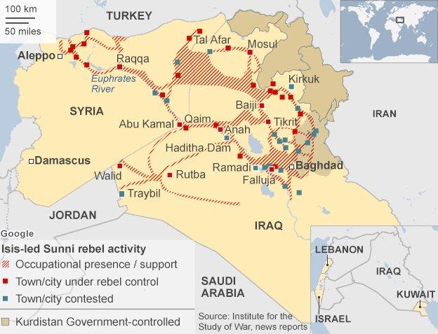 Map showing territory under Isis control