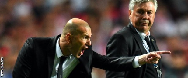 Assistant manager Zinedine Zidane and Carlo Ancelotti dictate from the sidelines