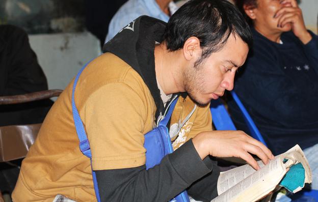 Victor Ruiz reading his bible