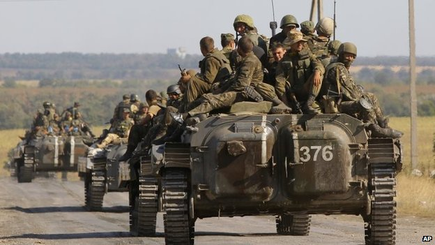 Ukrainian troops evacuated from the rebel-held town of Starobesheve