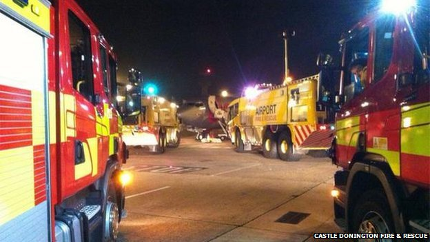 Fire crews at East Midlands Airport