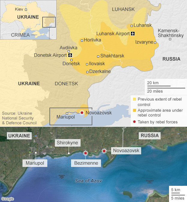Map of rebel forces in Ukraine, 4 September 2014