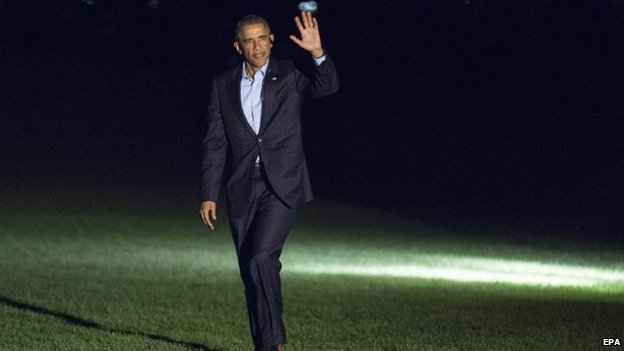 Barack Obama returns from the Nato summit in Wales, 5 Sept
