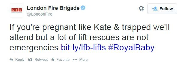 London Fire Brigade: If you're pregnant like Kate and trapped we'll attend but a lot of lift rescues are not emergencies
