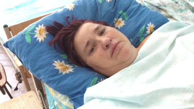 The grandmother - Lubov Vasilievna - in hospital in Mariupol on the day of the ceasefire / rocket fire in her village
