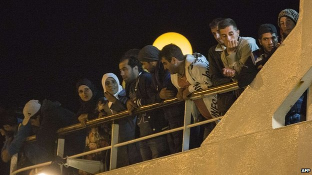 Migrants refuse to leave cruise ship docked in Limassol, Cyprus. 26 Sept 2014