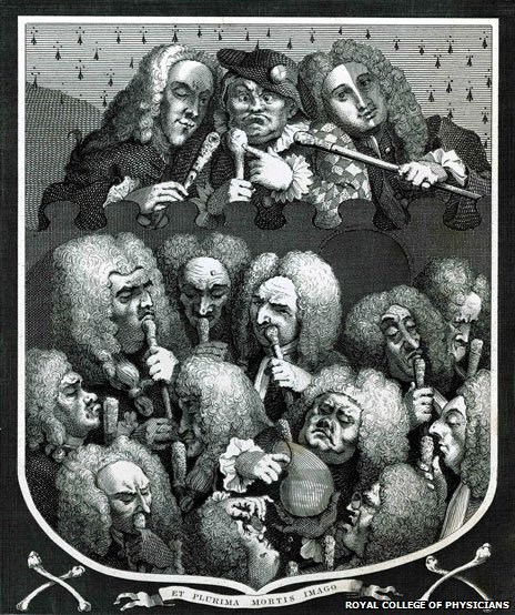 Engraving of physicians holding canes