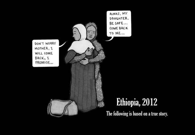 The story, in cartoons, of Almaz who left her home in Ethiopia to work in Saudi Arabia.