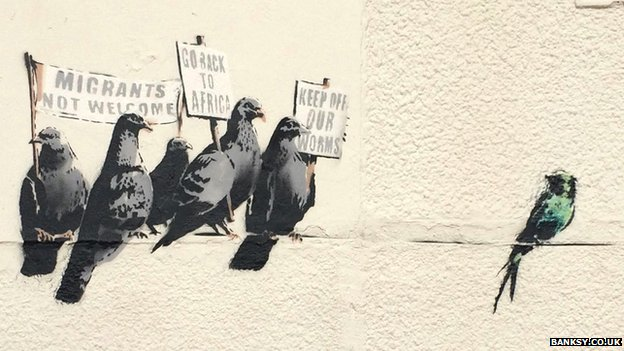 Banksy mural showing pigeons in Clacton