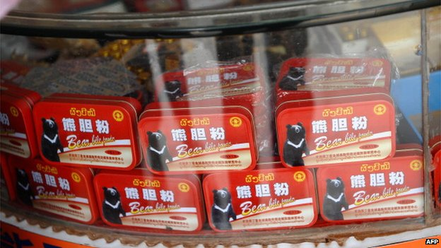 This picture taken on 11 March, 2011 shows boxes of bear bile powder displayed for sale at a Chinese-owned shop
