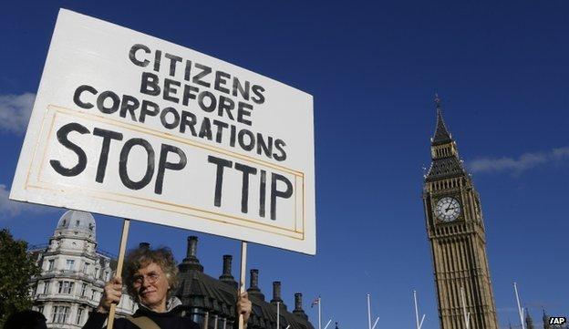 Un manifestante in possesso di un banner in piazza del Parlamento a Londra il 11 Ottobre 2014