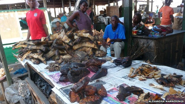 A bushmeat vendor in the Cantoments Market in Accra, selling grasscutters, bats, fish, antelope and more