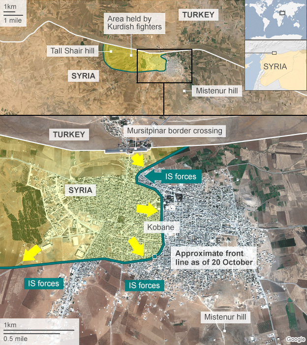 Map showing frontline in Kobane, 20 October 2014