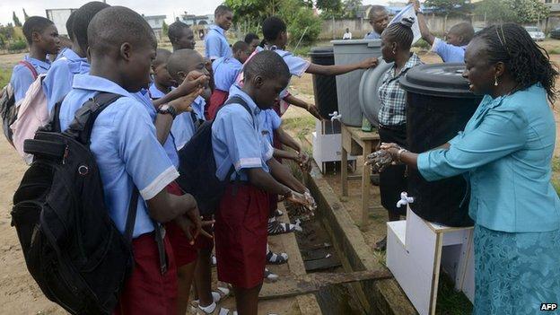 School children washing their hands, Lagos, Nigeria - Wednesday 8 October 2014