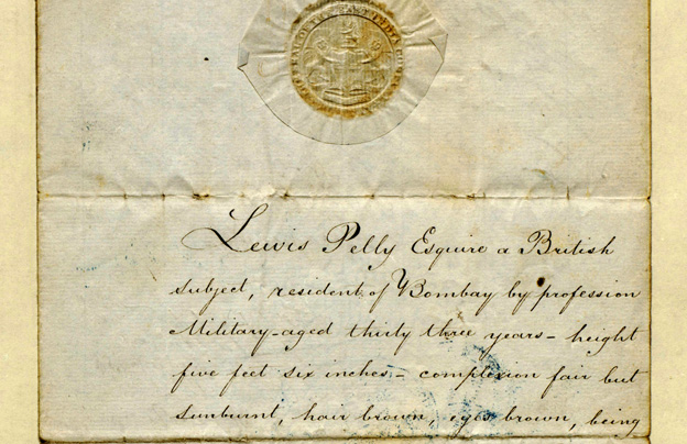 "Front cover of passport issued at Bombay Castle in 1858 to Lewis Pelly, East India Company officer and British diplomat (""…complexion fair but sunburnt…""), for a journey from India to England."
