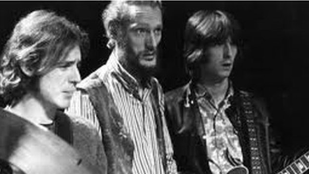 Jack Bruce (left) with Ginger Baker and Eric Clapton in Cream in the mid-1960s