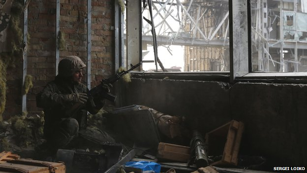 Fighter in Donetsk airport