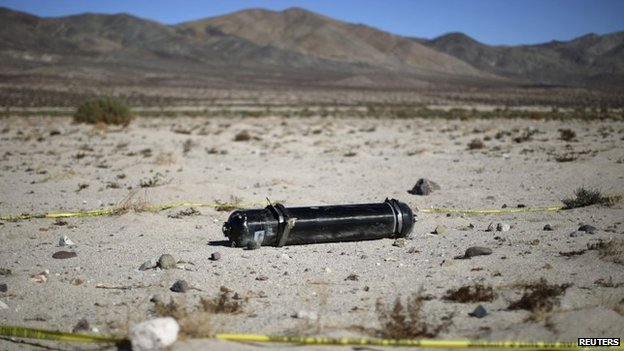 Wreckage from the crash of Virgin Galactic's SpaceShipTwo lies in the desert near Cantil, California November 2