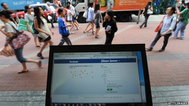 Computer displaying Facebook in China