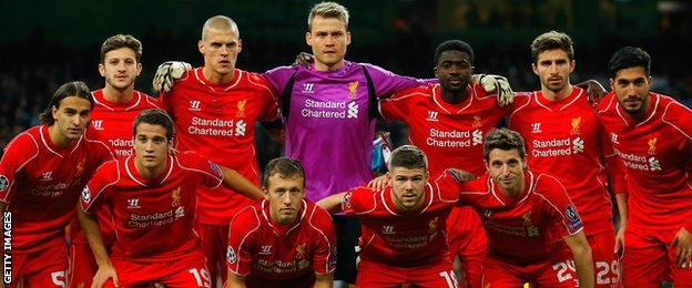 Liverpool's team to play Real Madrid