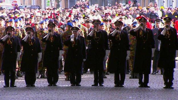 Armistice Day 2014 service at the Menin Gate memorial in Ypres, Belgium.