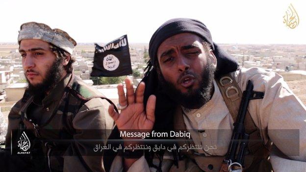 British militant in Dabiq, Syria appearing in an Islamic State video