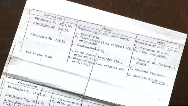 Joe Riley's conviction sheet