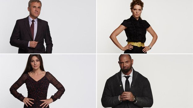 Clockwise from top left: Christoph Waltz, Lea Seydoux, Monica Bellucci and Dave Bautista