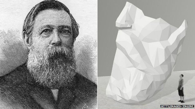Friedrich Engels and an artist's impression of the beard sculpture