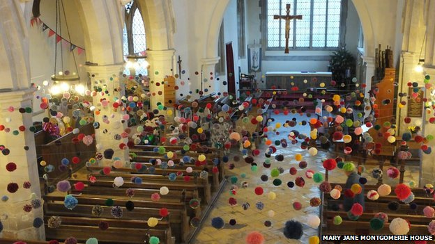 Pom pom art in Cambridgeshire church