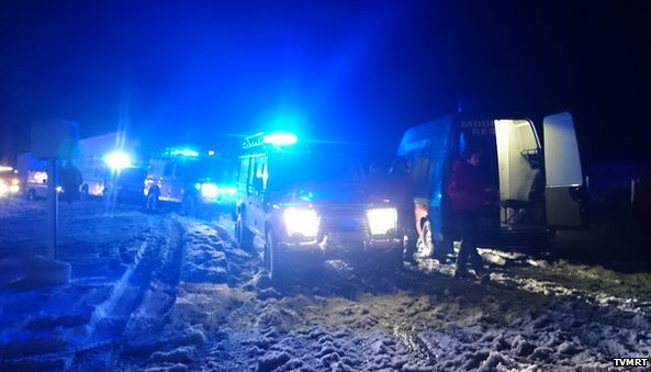 Stranded vehicles on the A68