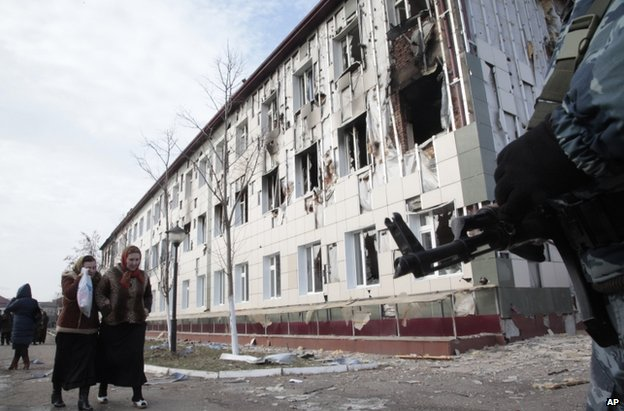 Charred school in Grozny, 5 December