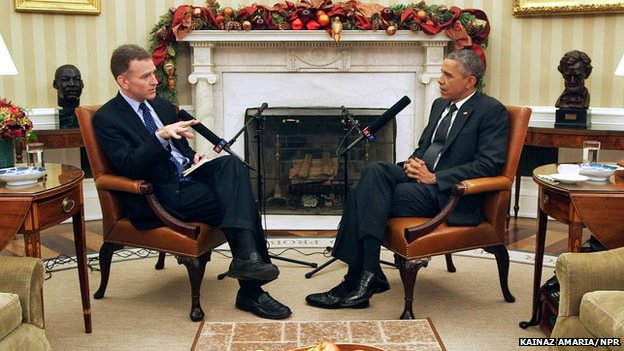 NPR's Morning Edition host Steve Inskeep interviews President Barack Obama in the Oval Office on Thursday, December 17, 2014.