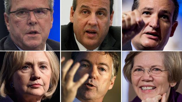 Clockwise from top left: Jeb Bush, Chris Christie, Ted Cruz, Elizabeth Warren, Rand Paul, Hillary Clinton