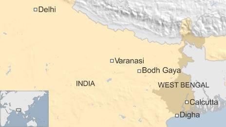 BBC map of Digha, Bodh Gaya and Varanasi in India
