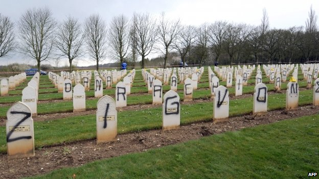 Nearly 150 Muslim war graves n Ablain-Saint-Nazaire, France's biggest war cemetery, desecrated by vandals  (April 2008)