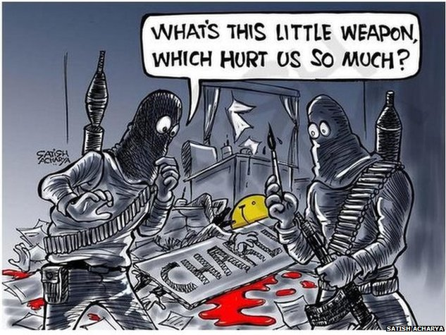 Cartoon of attackers holding a paintbrush