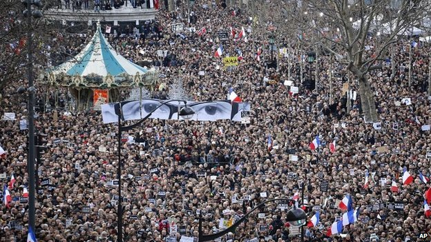 Hundreds of thousands of people marched through Paris on Sunday - 11 January 2015